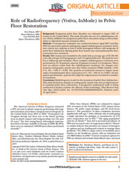 Role of Radiofrequency (Votiva, InMode) in Pelvic Floor Restoration