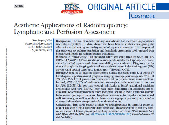 Safety and Efficacy of Radiofrequency in Aesthetic Applications